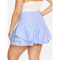 Tiered Striped Zip Up Back Shorts