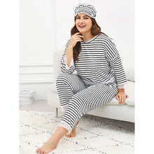 Contrast Lace Striped Pajama Set