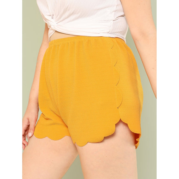 Scalloped Edge Textured Shorts