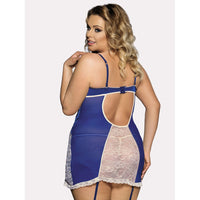 Lace Panel Garter Dress With Thong
