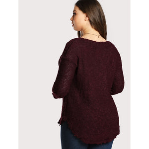 Distressed Knitted Sweater BURGUNDY