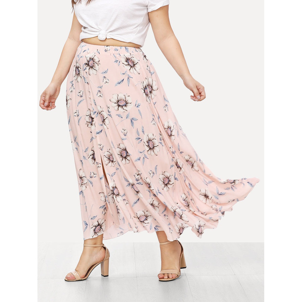 Button Up Floral Skirt