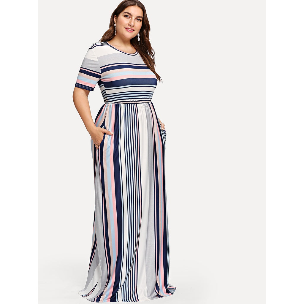 Contrast Striped Hidden Pocket Dress