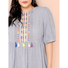 Embroidery Tape Tassel Detail Pinstripe Dress