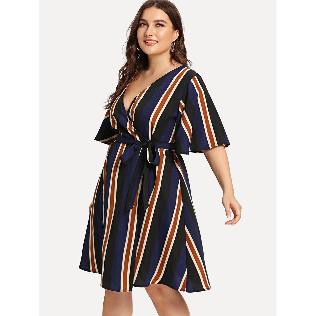 Block-Striped Angel Sleeve Wrap Dress