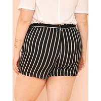Stripe Shorts with Belt