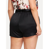 Elastic Waist Knot Front Belted Shorts