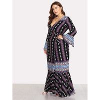 Deep V Neckline Fluted Sleeve Geo Print Dress