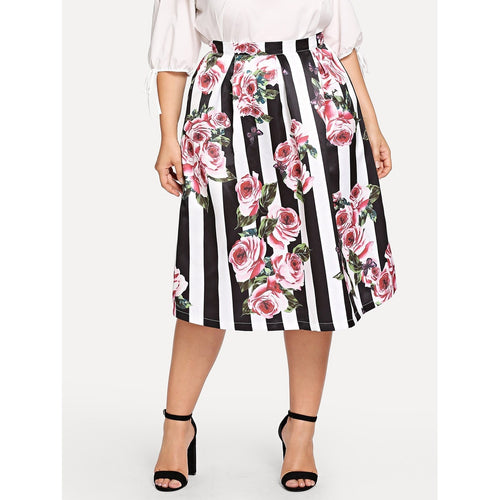 Box Pleated Floral & Striped Skirt