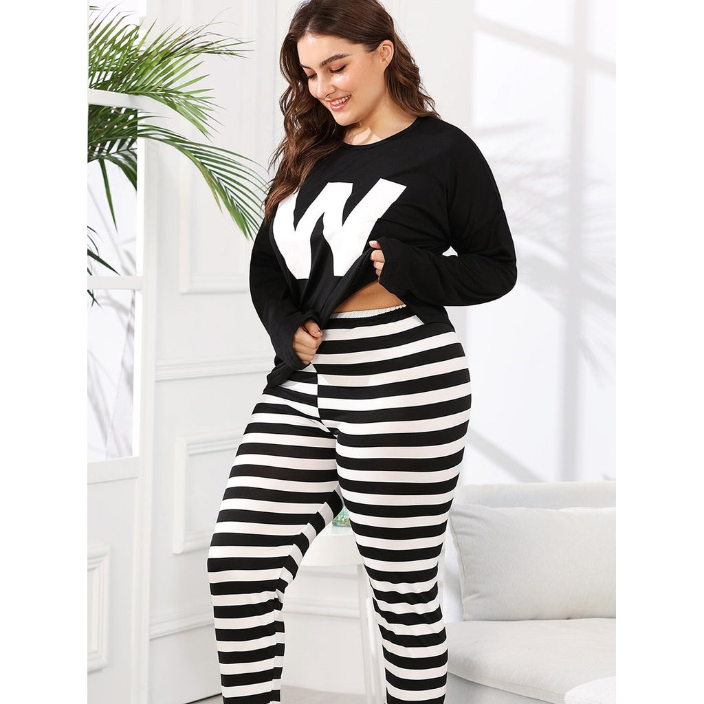 Contrast Striped Letter Print Pajama Set