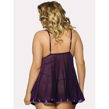 Embroidery Detail Babydoll With Thong