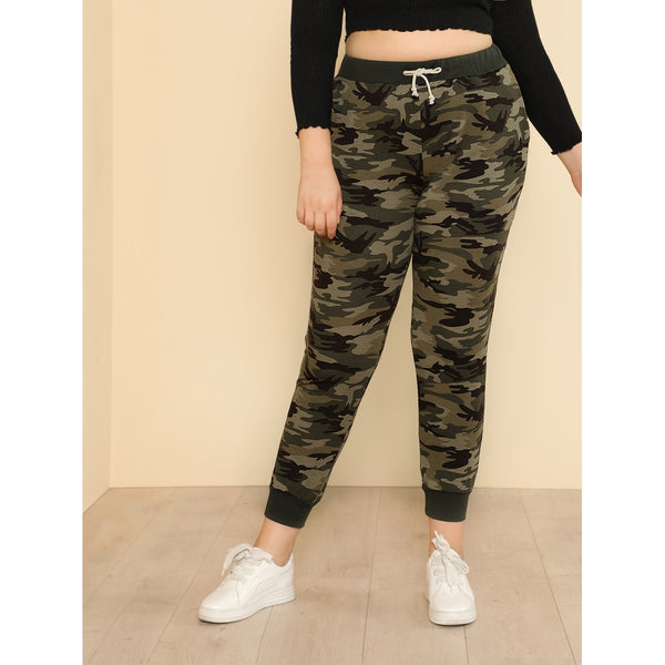 Camo Print Tapered Sweatpants
