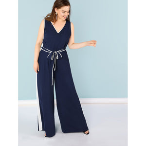 Contrast Binding Self Belted Shell Jumpsuit
