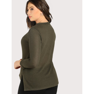 Choker Knit Long Sleeve Top OLIVE