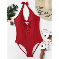 Lace Up Halter Swimsuit