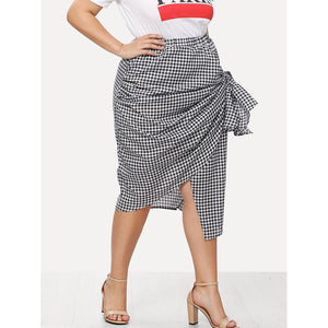 Asymmetric Gingham Wrap Skirt