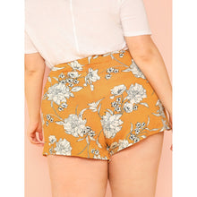 Floral Print Front Tie Shorts