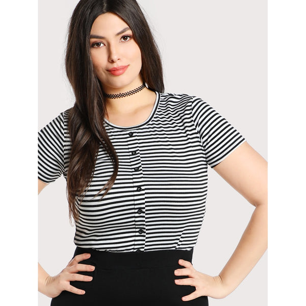 Button Front Striped Tee