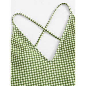 Criss Cross Gingham Swimsuit