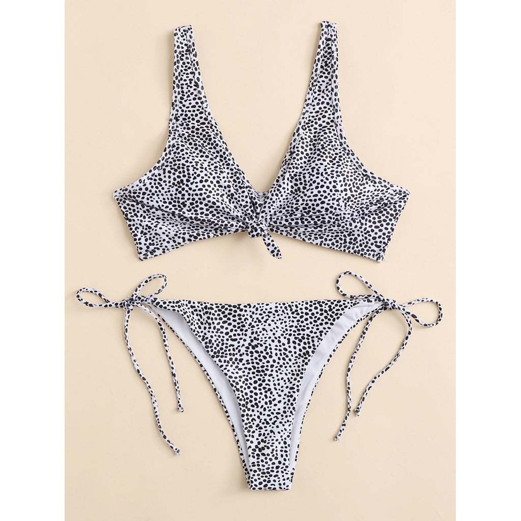 Dot Print Tie Side Bikini Set