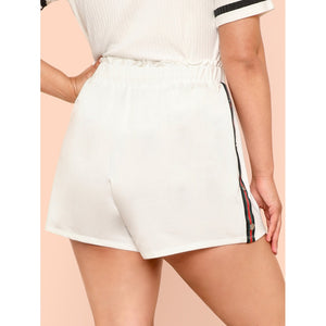 Contrast Tape Button Side Drawstring Waist Shorts