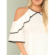 Contrast Binding Cold Shoulder Layered Dress