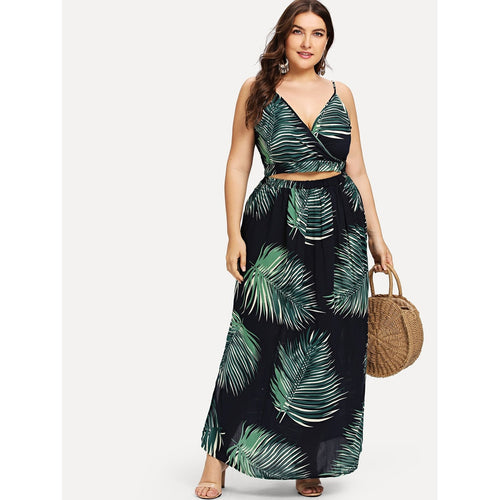 Palm Leaf Wrap Cami & Skirts Co-Ord