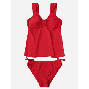 Drawstring Side Tankini Set