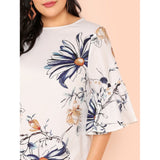 Trumpet Sleeve Botanical Print Dress