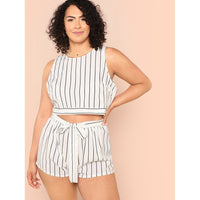 Bow Embellished Striped Shell Top & Shorts Set