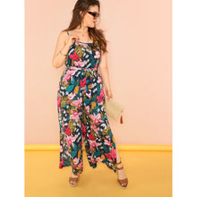 Allover Floral Print Wide Leg Cami Jumpsuit
