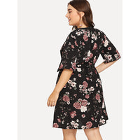 Floral Print Belted Detail Dress