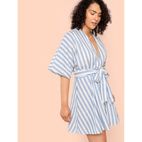 Plunging Neck Button Up Belted Dress