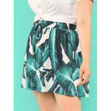 Palm Leaf Print Drawstring Shorts