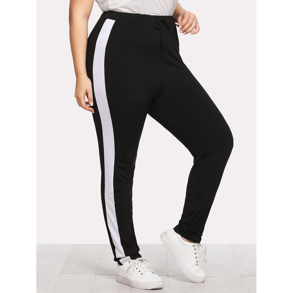 Contrast Panel Side Pants