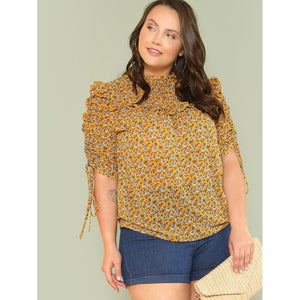 Drawstring Sleeve Botanical Top