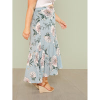 Button Up Flounce Hem Floral Skirt