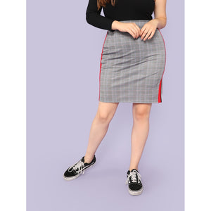 Contrast Tape Side Plaid Skirt
