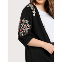 Flower Blossom Embroidered Open Front Coat
