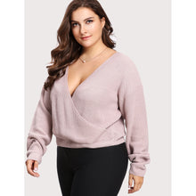 Drop Shoulder Surplice Wrap Jumper