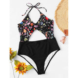 Calico Print Cut-Out Swimsuit