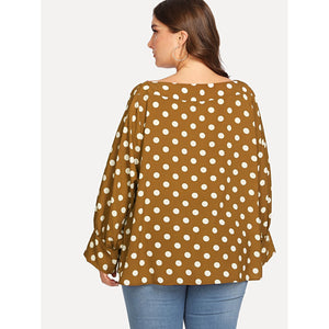 Bell Sleeve Polka Dot Top