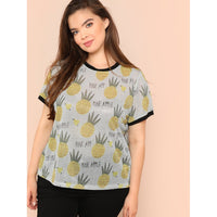 Allover Pineapple Print Glitter Ringer Tee
