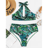 Palm Print Cut-Out Bikini Set