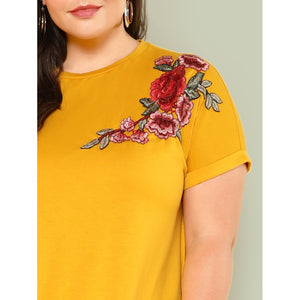 Embroidered Rose Patch Tee Dress