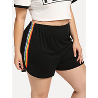 Rainbow Striped Tape Side Dolphin Shorts
