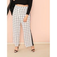 Contrast Tape Grid Pants