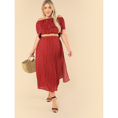 Flounce Off Shoulder Polka Dot Top & Side Slit Skirt Set