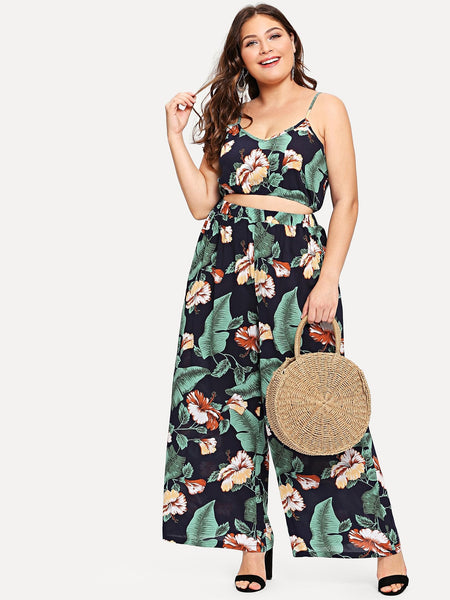 Tropical Print Crop Cami & Wide Leg Pants Set