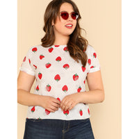 Allover Strawberry Print Cuffed Sleeve Tee
